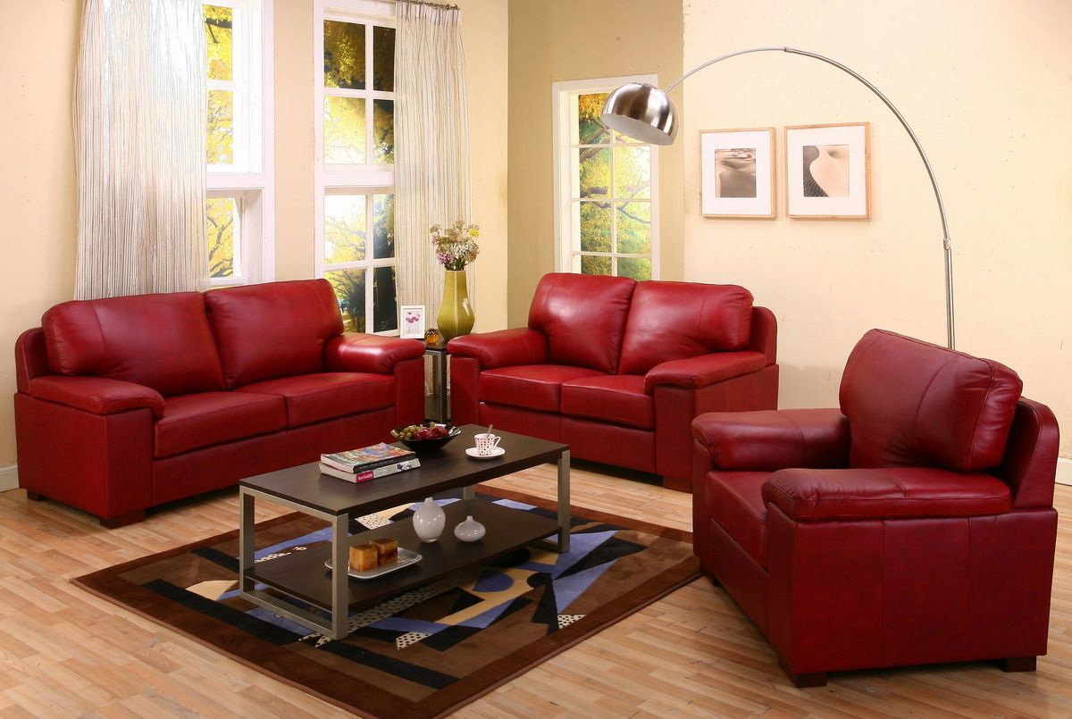 Creative Style Living Room Inspiration With Cream Wall Paint COlor And Modern Red Leather Sofa Set