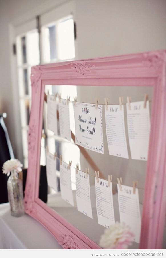 Marco de cuadro de color rosa para poner los nombres de mesa ...