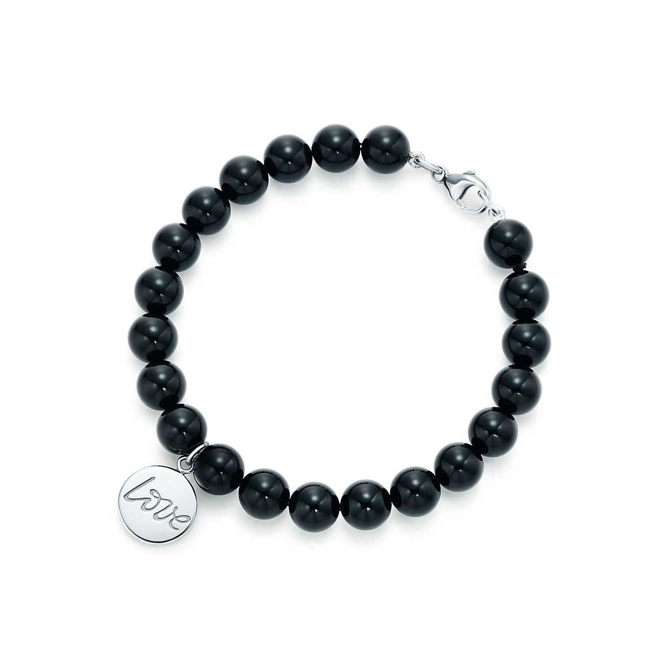 Palomas Graffiti peace tag in sterling silver on a bead bracelet, medium Tiffany & Co.