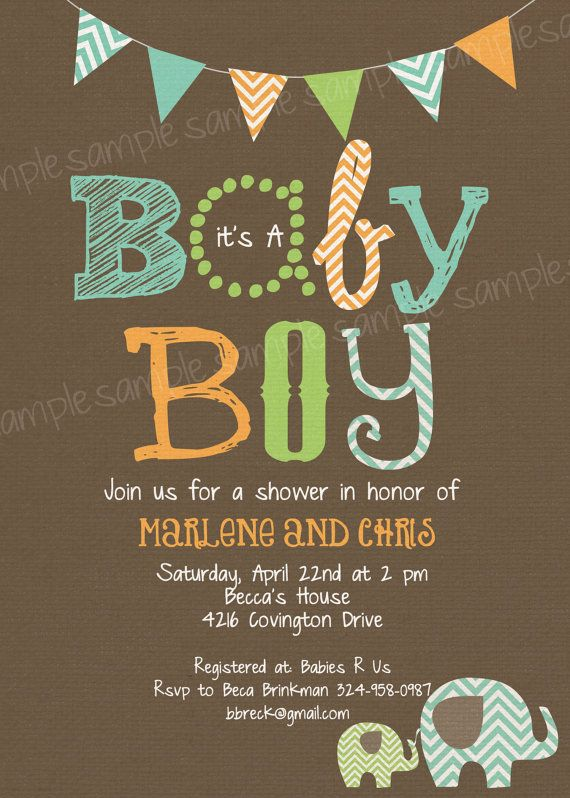 Baby Boy Baby Shower Invitation   Brown Orange Green Chevron Elephant Peanut