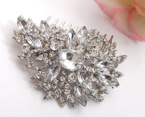 Wedding hair comb Bridal Crystal hair comb by nefertitijewelry2009, $34.00