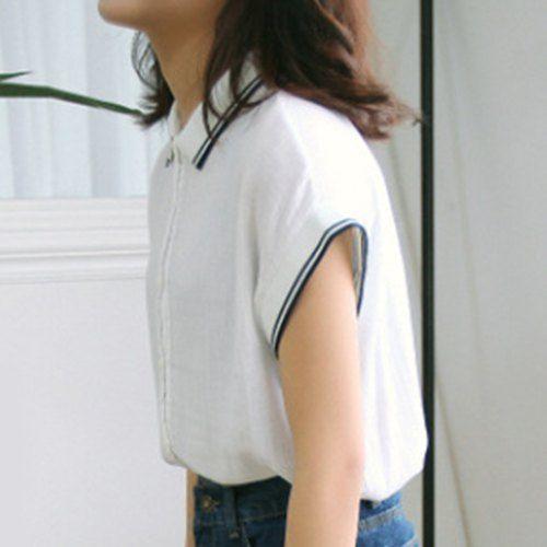 Preppy Style Short Sleeves Flat Collar Splice Blouse For Women