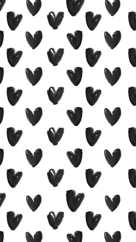 Black White Heart Pattern Monochrome Print Design Iphone Background Wallpaper Iphone Background Pattern Wallpaper