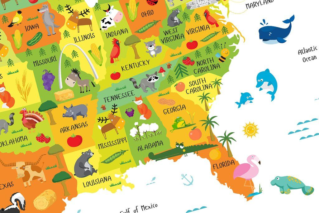 Personalized USA Map Poster for Children Illustrations