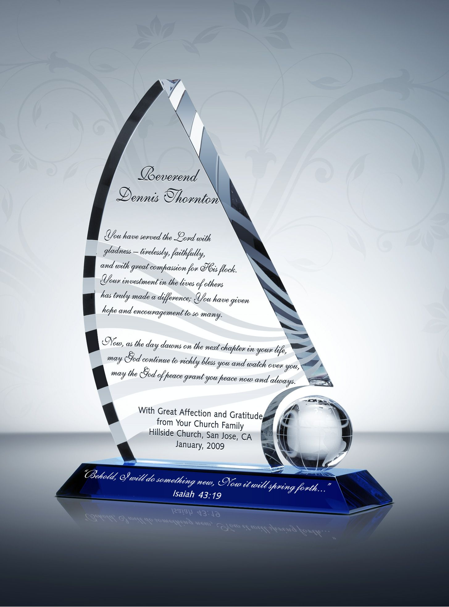 Pastor Retirement Gifts & Sample Farewell Messages from DIY Awards. The Crystal Sailboat, with its forward motion design, offers a unique way to honor the ...