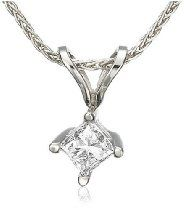 Platinum Princess-Cut Diamond Solitaire Pendant (1/4 ct, G-H Color, VS2 Clarity)