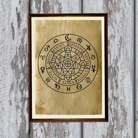 Occulto stampa alchimia simbolo antico carta magia di artkurka