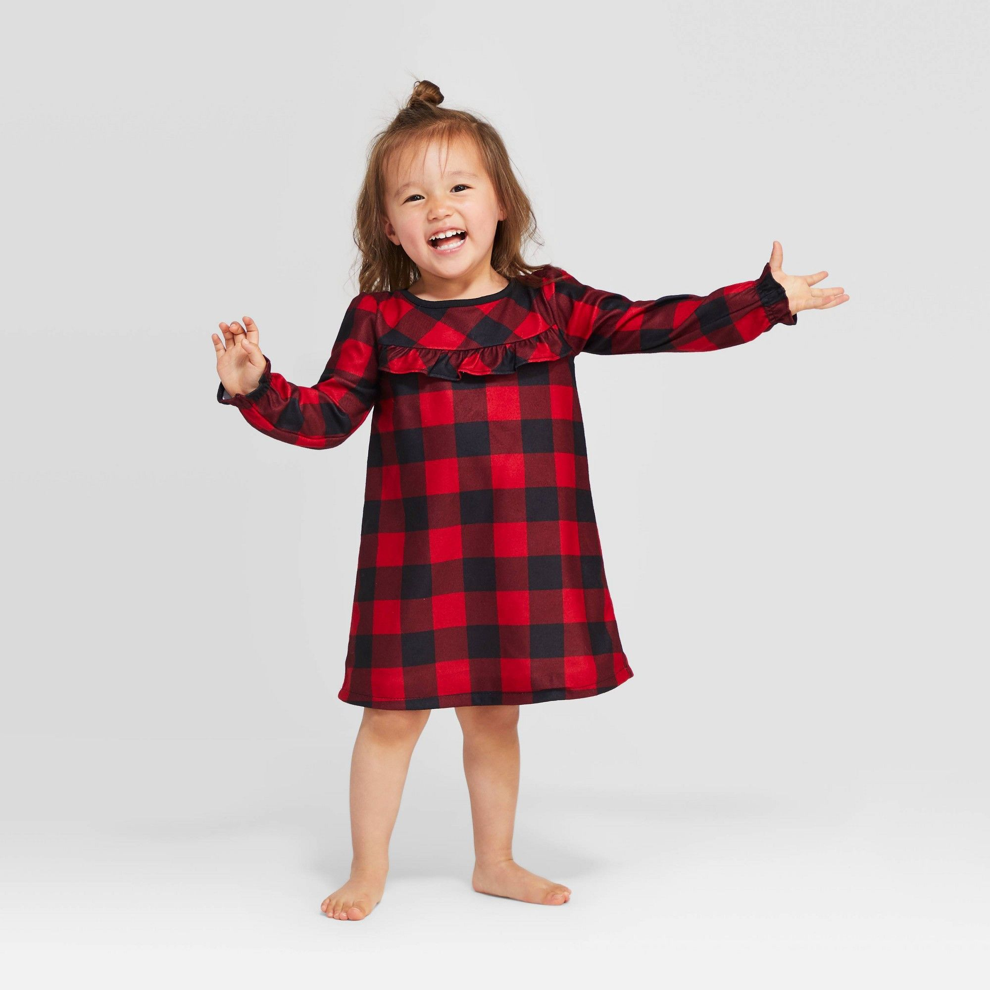 Toddler Girls' Holiday Buffalo Check Flannel One Piece