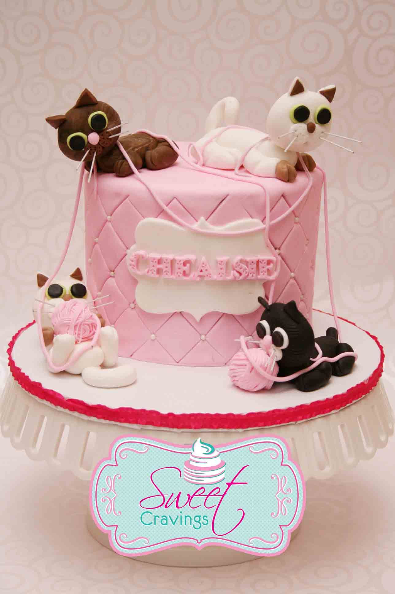 Fondant Cat Birthday Cake 7th Birthday Pinte
