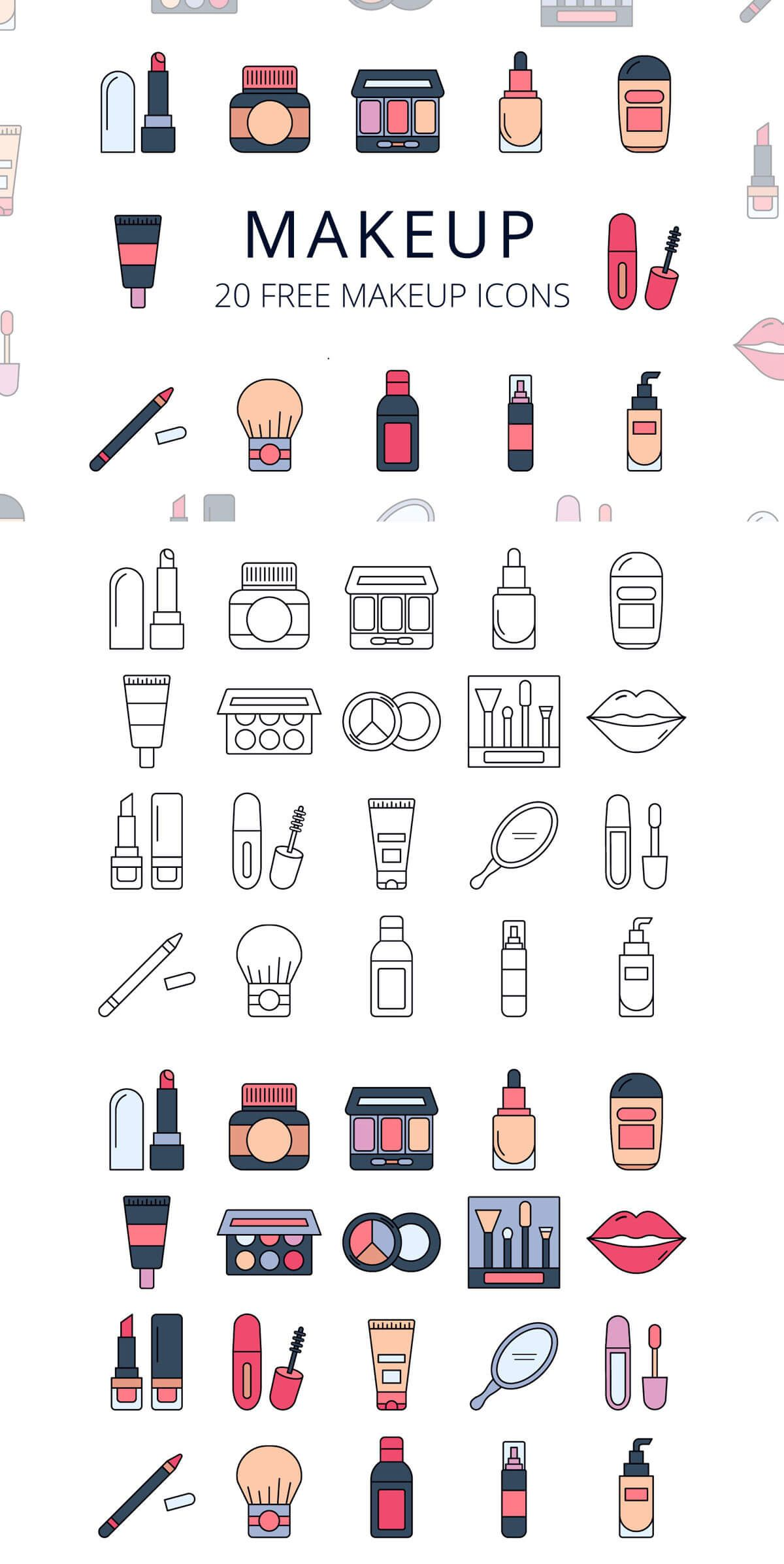 Free Makeup Vector Icon Set Icon set, Free makeup