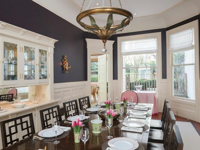 Elegant Dining Room With Charcoal Grey Walls  San Francisco Inspiration Charcoal Dining Room Review