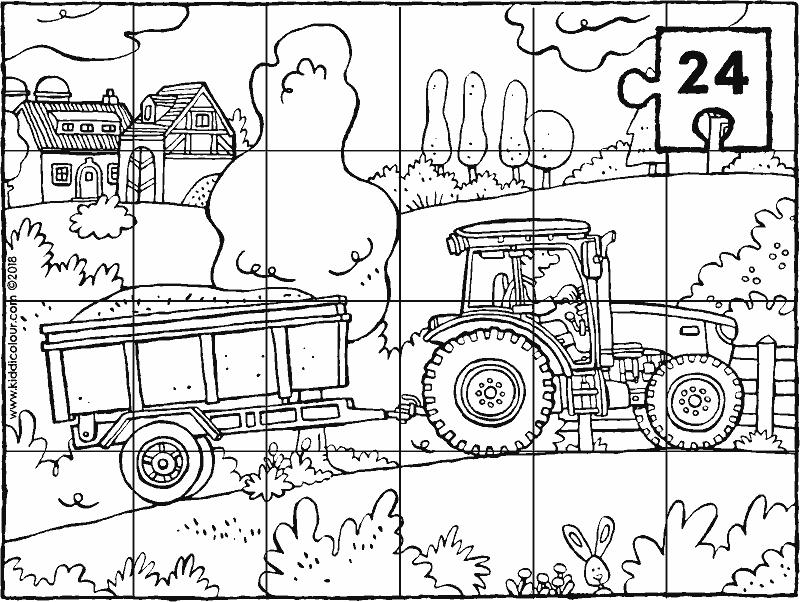 Kleurplaten Tractor Met Kar.Tractor Met Kar Puzzel 24 Stukken Kleurplaat Kleurprent Tekening 01k