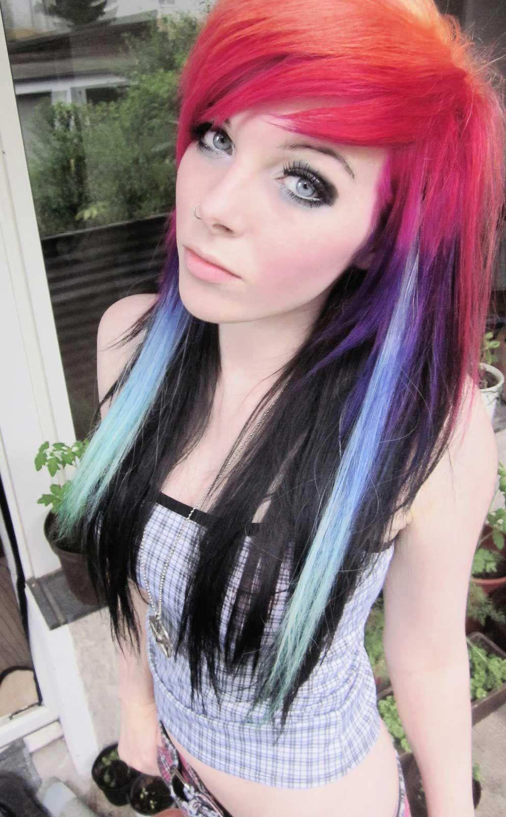 Superb Nice Pattern Emo Girl Ira Vampira Scene Queen Colorful Hair Purple Hairstyles For Women Draintrainus
