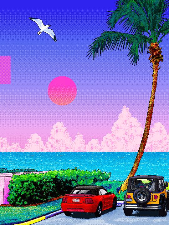 Vaporwave Retro Car Wallpaper Aesthetic Florida Sunshine Susanne Leist Vaporwave Art Pixel