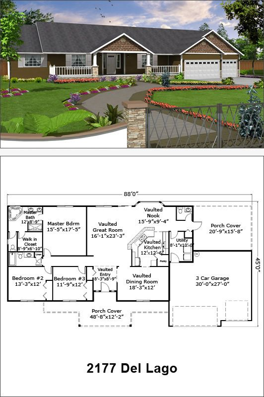 Del Lago 2177 Sf Craftsman Style House Plans Ranch House Plans Dream House Plans