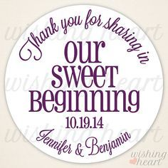 wedding favors sweet thank you Google Search Wedding