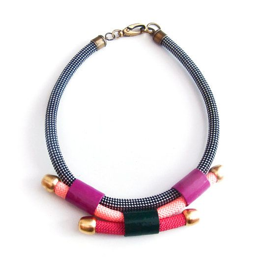 Statement multicolored rope necklace by meetthecat on Etsy, €56.00