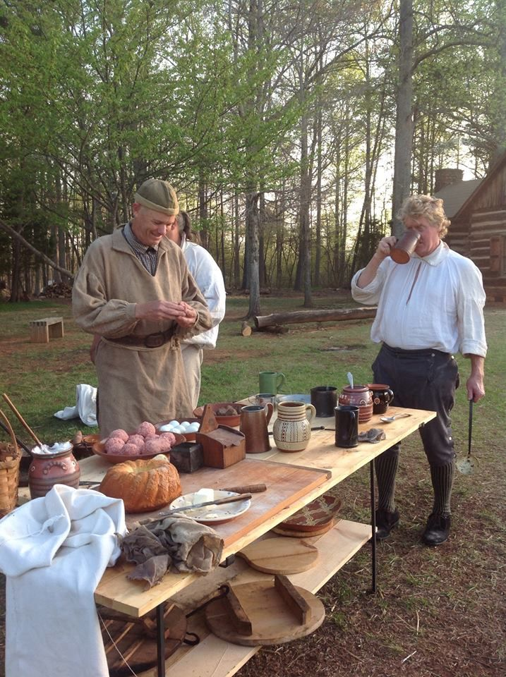 """Fort Dobbs, April, 2014 -  Making """"Hangover Bombs"""", Scotch Eggs, our normal Sunday morning fare!"""