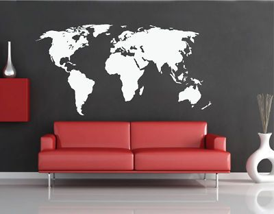 World map wall art decal vinyl sticker 2549 research wall stickers ebay gumiabroncs Images