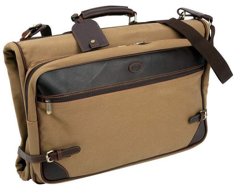 40a0fa8e38f1 Garment Bag Baron Country Collection Tan Trifold Canvas Travel Bag Leather  Trim
