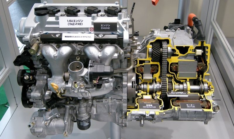 Hybrid Components The 1nz Fxe Engine Mated To The Hybrid Transaxle