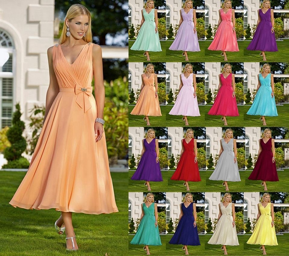 Formal V-neck Tea Length Evening Ball Gown Party Prom Bridesmaid ...