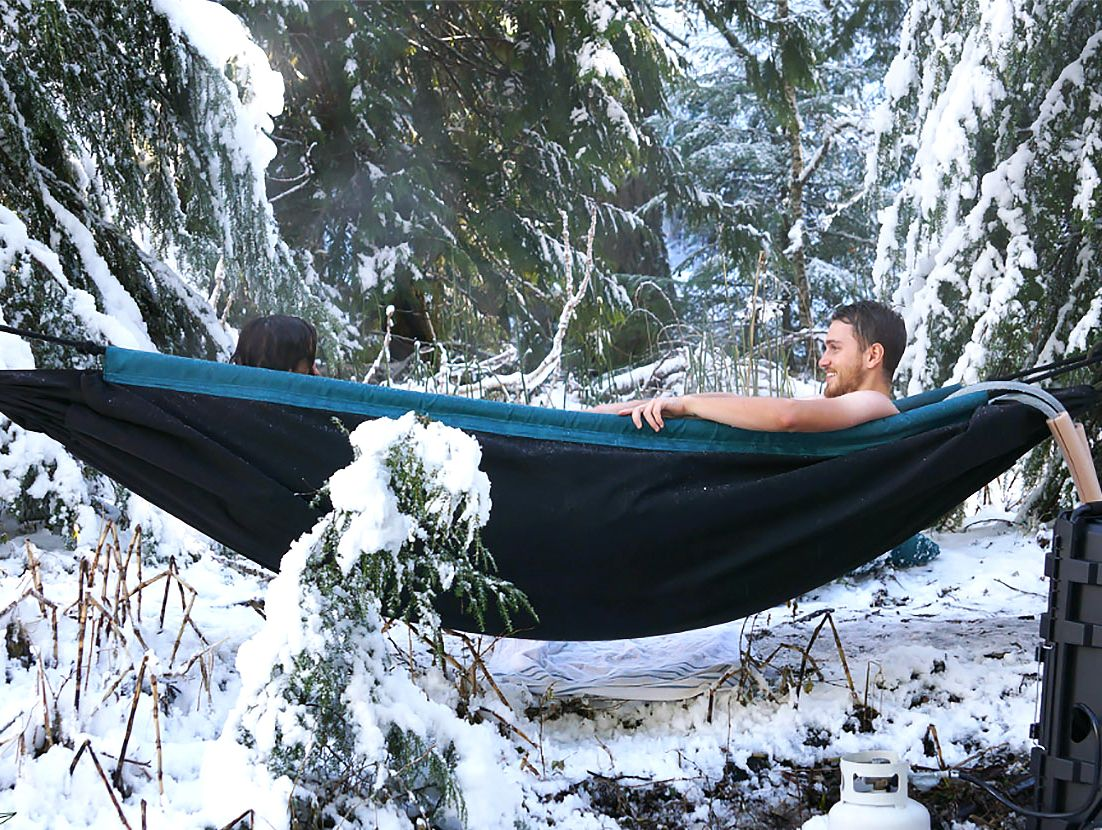 Hydro hammock turns a relaxing camping trip into a hot tub party