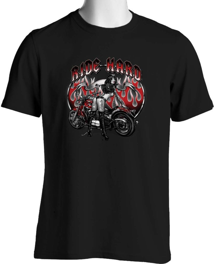 Custom Red Flame Motorcycle T-Shirt Biker Babe with Tattoo Small to 6XL and Tall