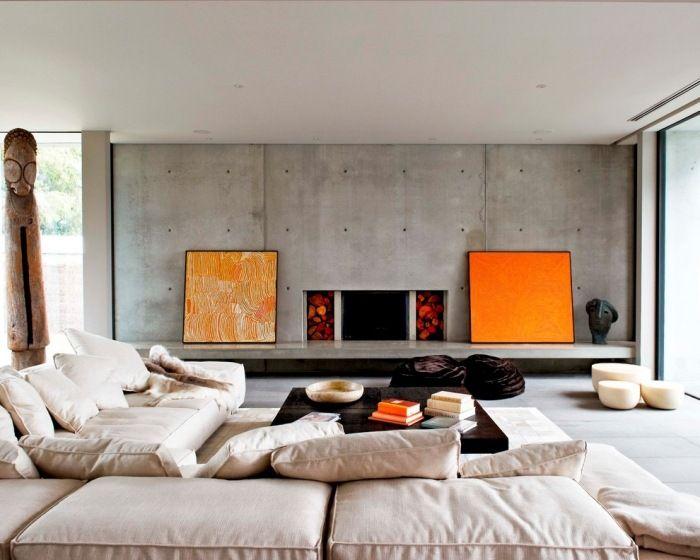 Einrichtungsideen Fr Wohnzimmer Wo Eine Betonwand Akzente Setzt