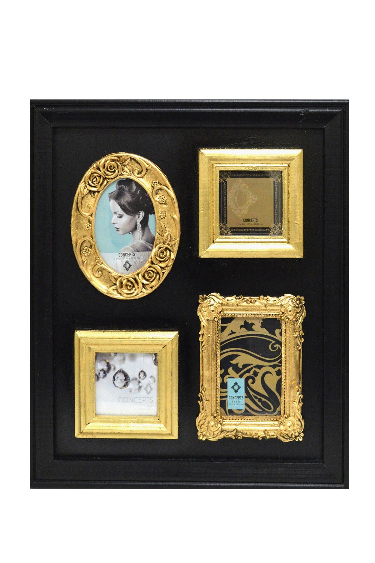 Concepts In Time Blackgold Four Frame Open Collage 18 X 21 By