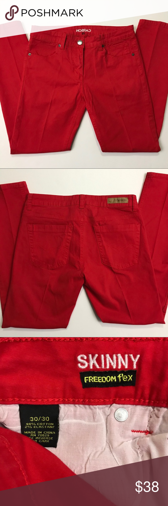 Carbon Skinny Freedom Flex Men S Pants 30 30 Red Skinny Khaki Chinos Pants
