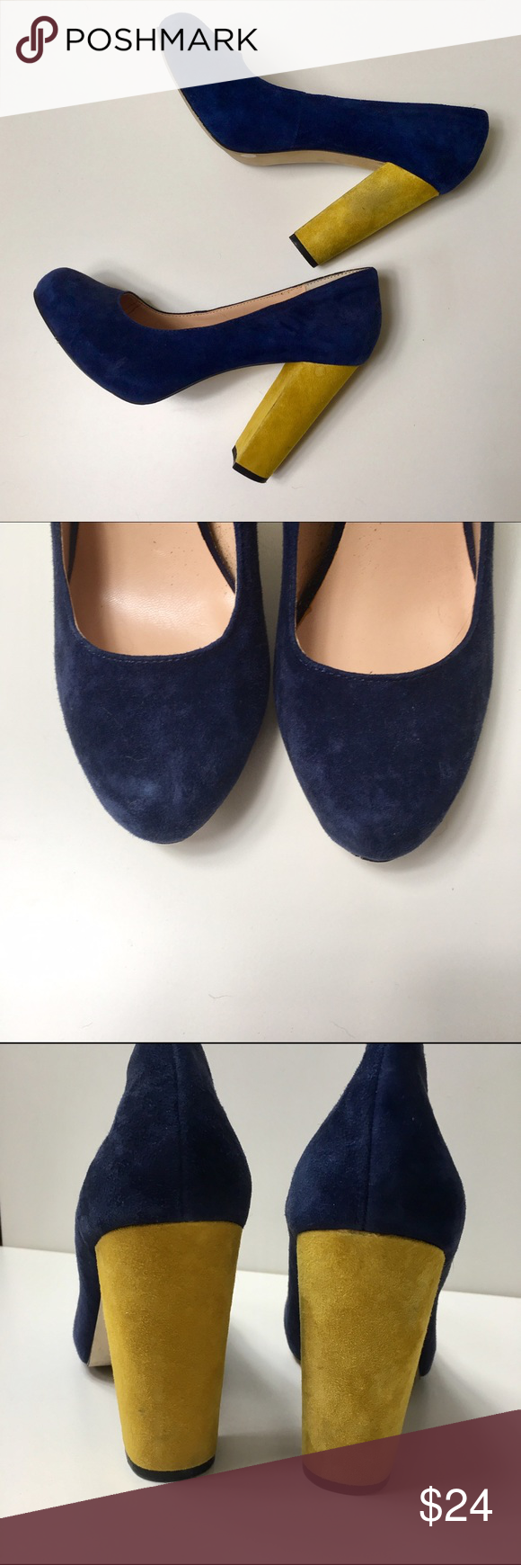 Sole society suede navy and yellow chunky heels Sole society navy and yellow chunky heels; some wear on suede as shown in photos Sole Society Shoes Heels