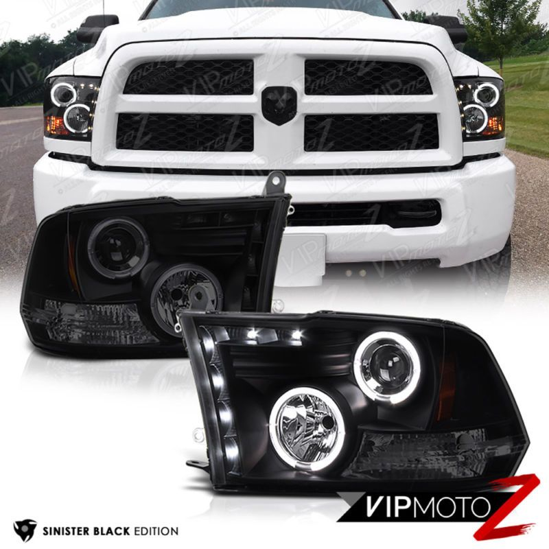 2009 2016 Dodge Ram Sinister Black Halo LED Headlights 2010 2011