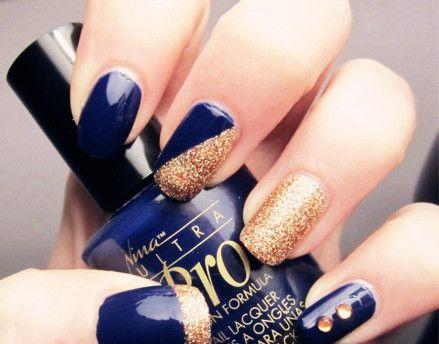 Blue and Gold nail designs - Blue And Gold Nail Designs Nails Pinterest Gold Nail, Makeup