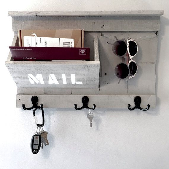 Rustic Entryway Organizer Mail Key Sunglasses Holder Made From Reclaimed Pallet Wood Mail Organizer Diy Entryway Key Holder Diy Entryway Organization