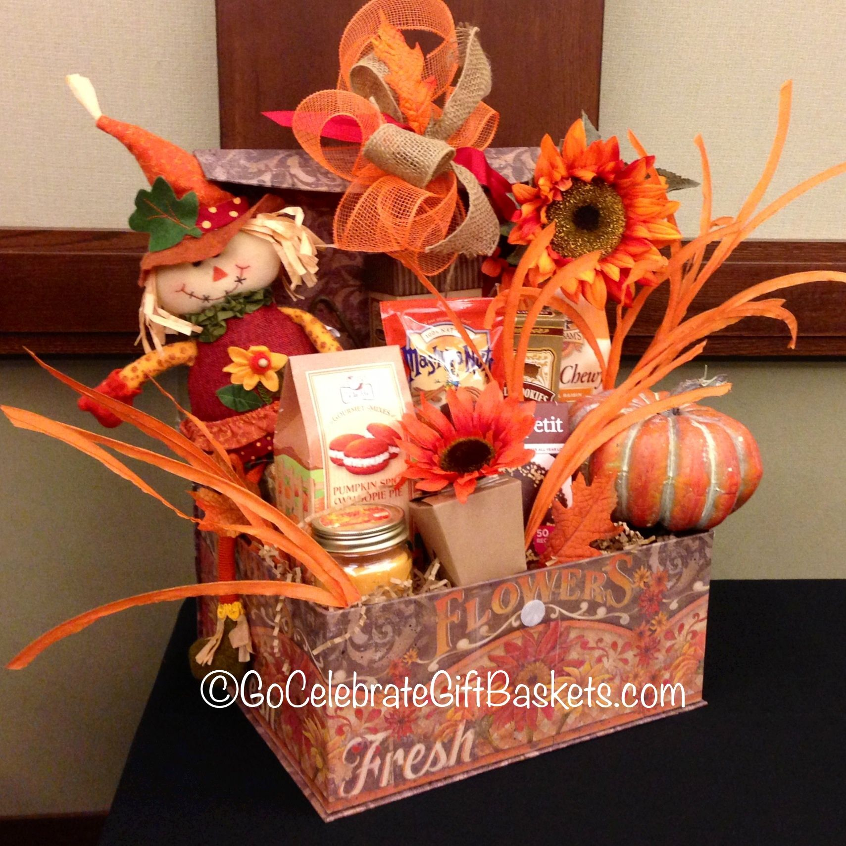 A fall gift basket that won 1st place in the holiday