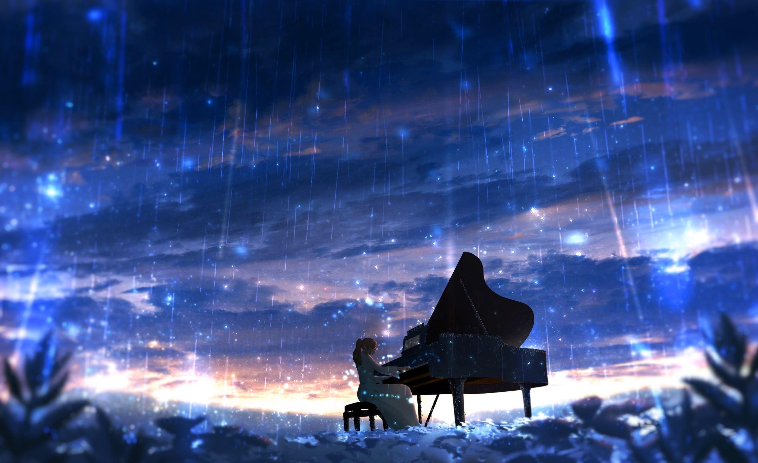 Anime Original Girl Piano Rain 1080p Wallpaper Hdwallpaper Desktop Anime Scenery Anime Wallpaper Anime Background