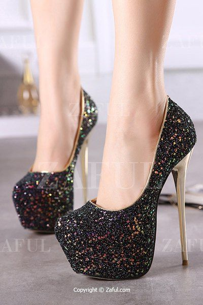 abd39659148e Sequined Cloth Platform Stiletto Heel Pumps BLACK  Pumps