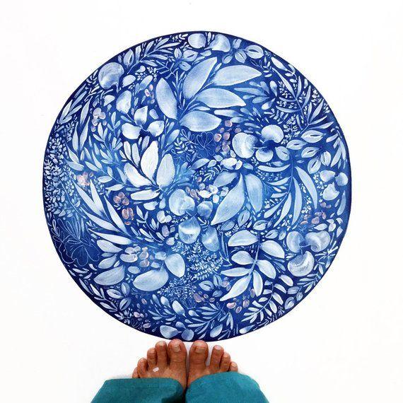 2019的blue Moon Indigo Wall Art Lunar Phases Blue And White