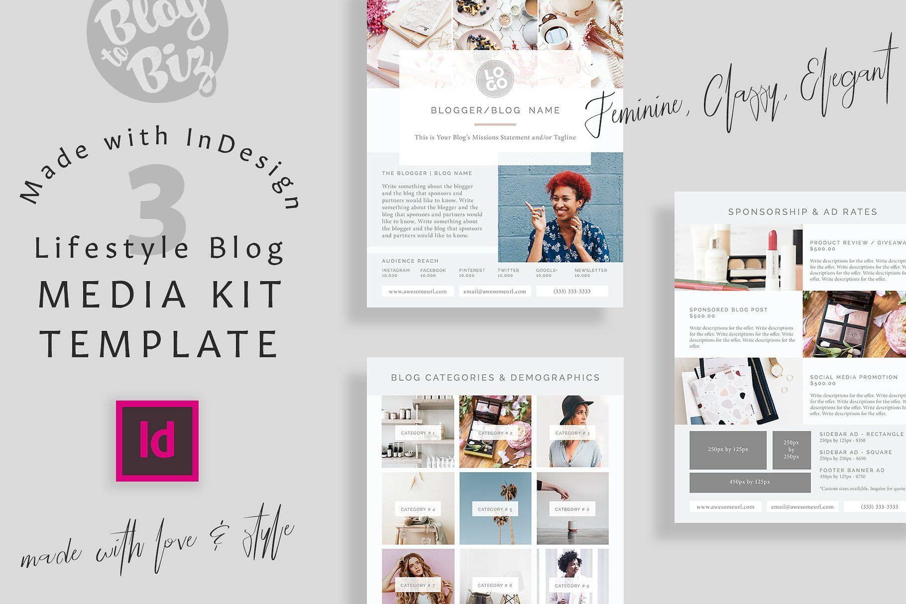 Blog Media Kit InDesign Stationery Template