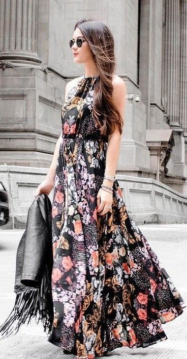 Lulu's Black Floral Maxi Dress  | Sarah Styles Seattle