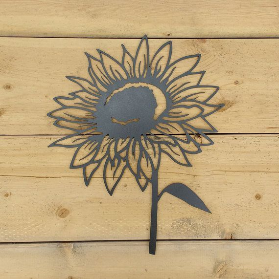 Metal Sunflower Sunflower Flower Wall Art Decoration Rustic Silhouette