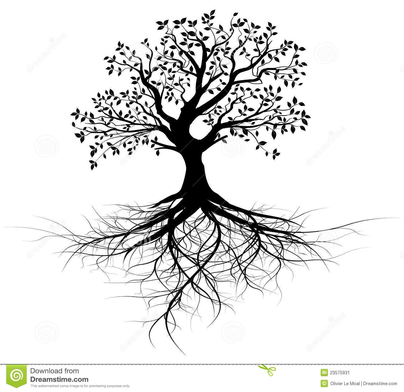 Whole Black Tree With Roots Vector Tree Of Life Tattoo Tree Roots Tattoo Roots Tattoo