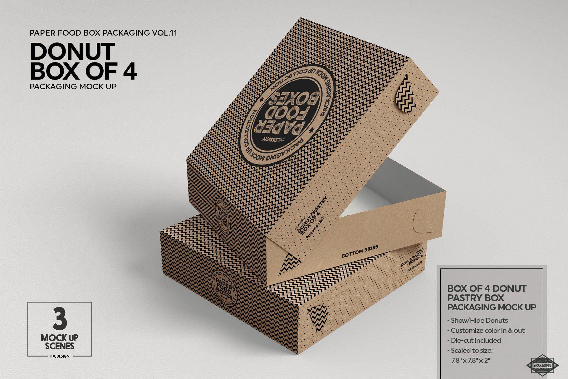 Download Box Of Four Donut Pastry Box Mockup Packaging Mockup Food Box Packaging Box Mockup