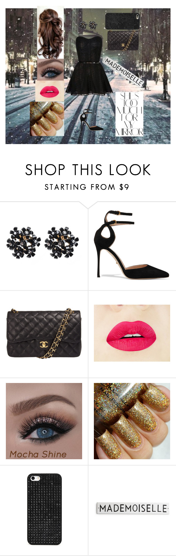 """She's Too Much For My Mirror"" by dreamerz-dream-on ❤ liked on Polyvore featuring Sergio Rossi, Chanel, BaubleBar and Rika"