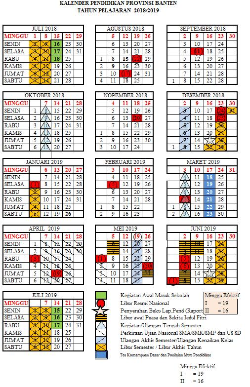 Kalender Pendidikan 2019/2020 Banten Excel : kalender, pendidikan, 2019/2020, banten, excel, Kalender, 2018/2019