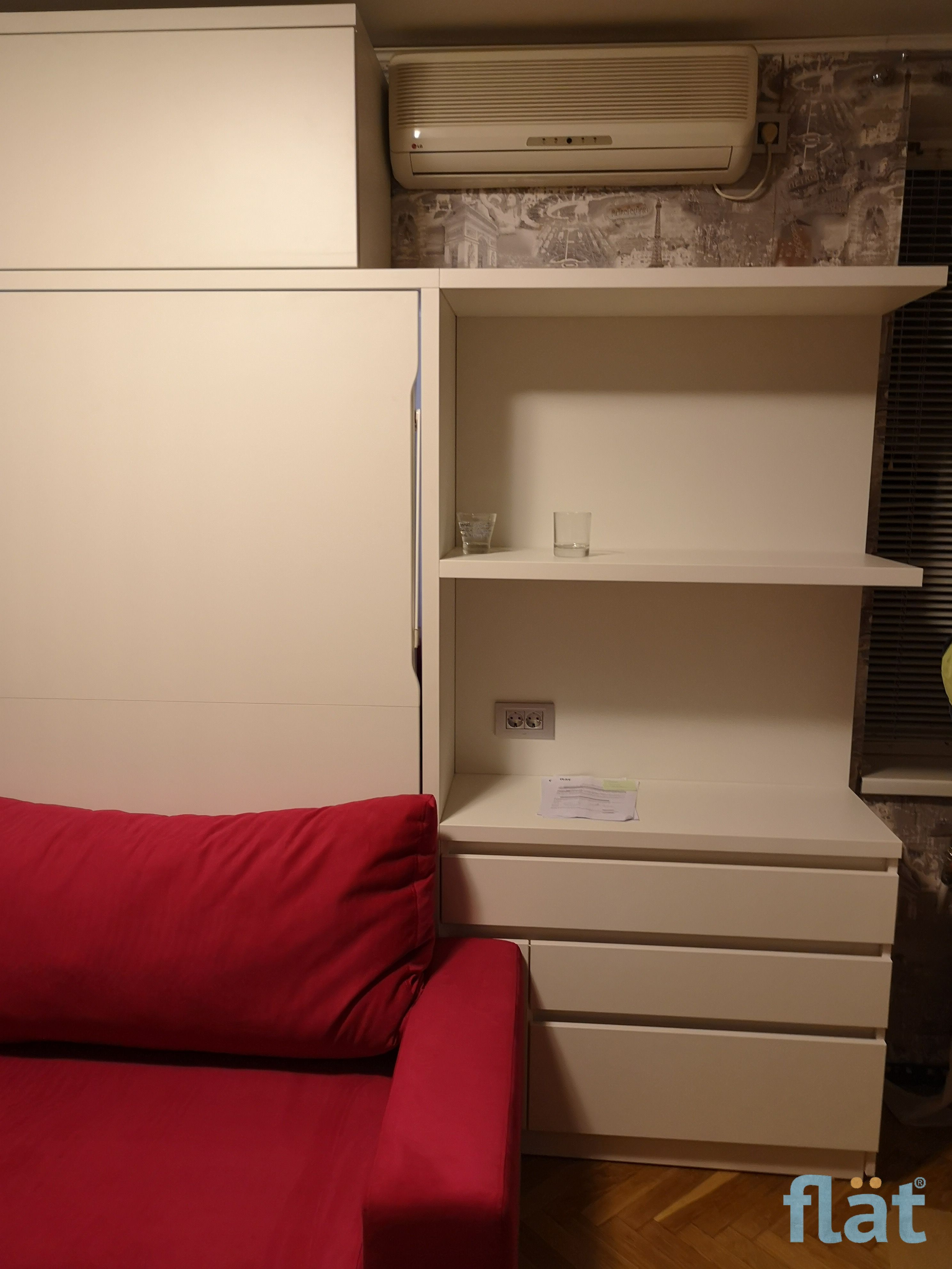 Horizontal Queen size wall bed with storage