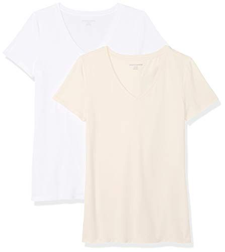 b861806bbe1c Amazon Essentials Women's 2-Pack Short-Sleeve V-Neck Solid T-Shirt #tshirt
