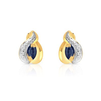 Très BOUCLES d'oreilles or 750 2 tons saphir #MATY #Bijoux - www.maty  ZE87