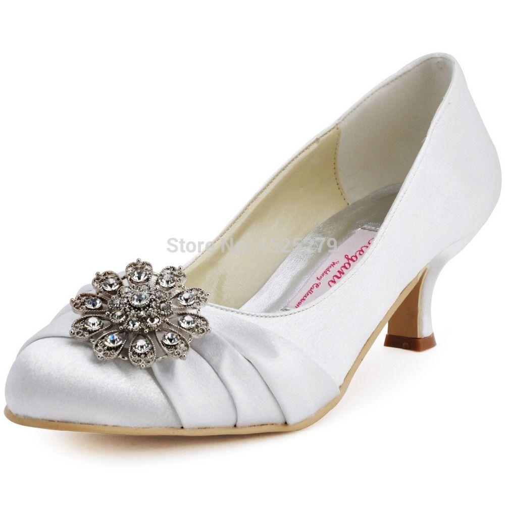 White Silver Low Heel Bride Wedding Shoes Round Toe Satin Rhinestone Women Custom Color Plus Size